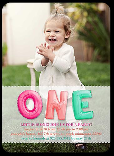 Bubble One Girl Birthday Invitation