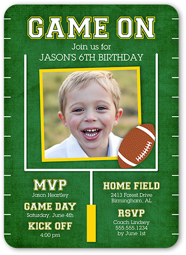 Game On Party 5x7 Custom Birthday Boy Invitations