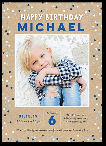Cheerful Dots Boy Birthday Invitation, Square Corners