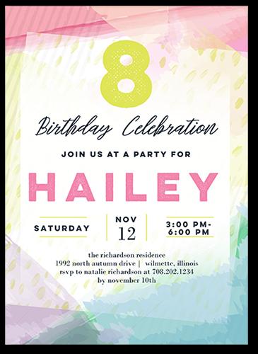 Watercolor Festivities Birthday Invitation, Square Corners