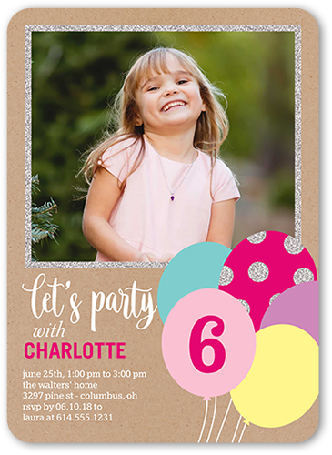 Balloon Bouquet Girl Birthday Invitation, Rounded Corners