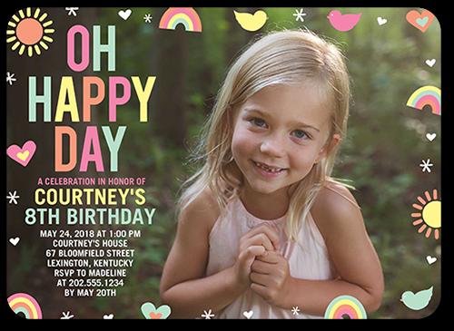 Pastel Happy Day Birthday Invitation, Rounded Corners