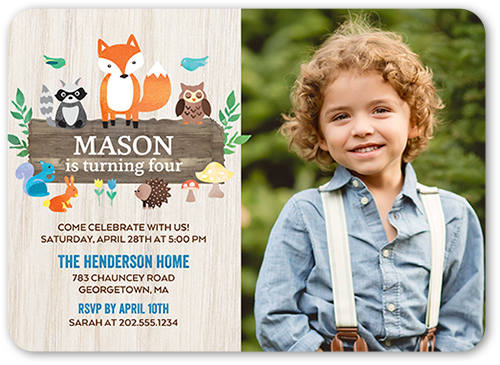 Woodland Wishes Boy Birthday Invitation, Rounded Corners