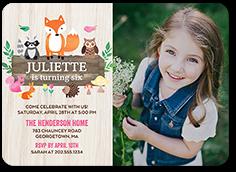 woodland wishes girl birthday invitation 5x7 flat