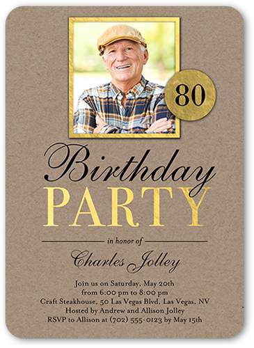 Classic Woodgrain Birthday Invitation
