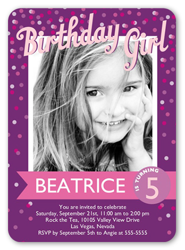 Confetti girl 5x7 birthday invitations shutterfly front stopboris Gallery