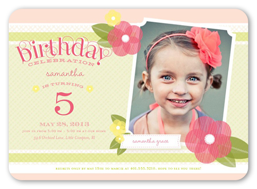Poppy Girl Birthday Invitation