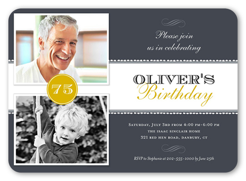 now and then 5x7 invitation card | birthday party invitations, Birthday invitations
