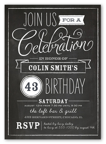 Chalkboard Wishes Surprise Birthday Invitation