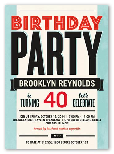Bold Typography Birthday Invitation