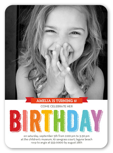 Bright Celebration Birthday Invitation, Rounded Corners
