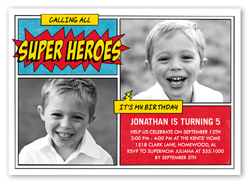 Super Hero Celebration Birthday Invitation, Square Corners
