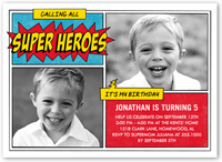 super hero celebration birthday invitation 5x7 flat