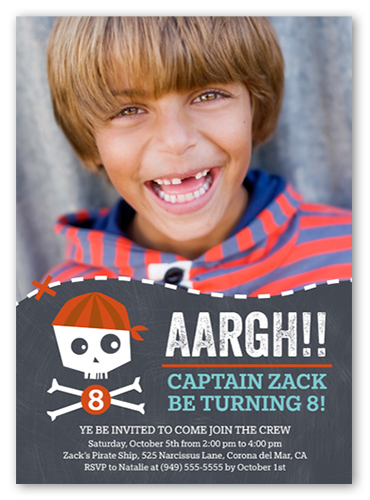 Pirate Party Birthday Invitation, Square Corners