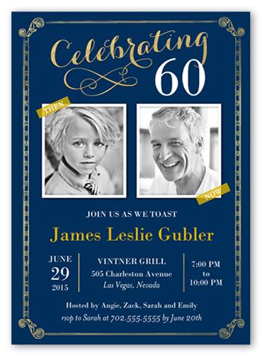 Celebration Scrolls Birthday Invitation, Square Corners