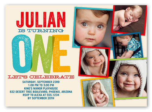 Big One Blocks Boy First Birthday Invitation