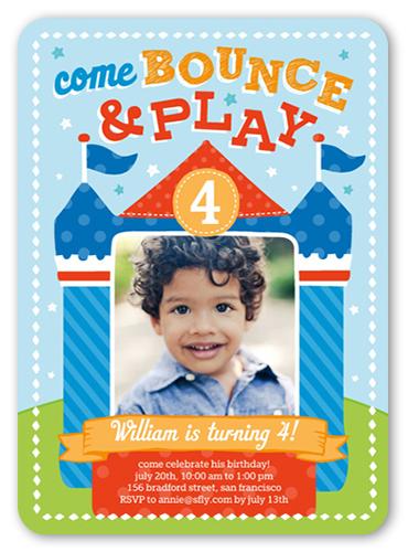 Bounce House Fun Birthday Invitation, Rounded Corners