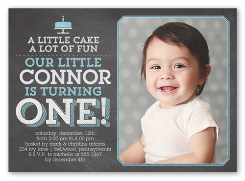 Little Cake Boy First Birthday Invitation