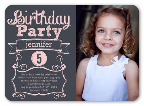 Proudly Parading Girl Birthday Invitation, Rounded Corners