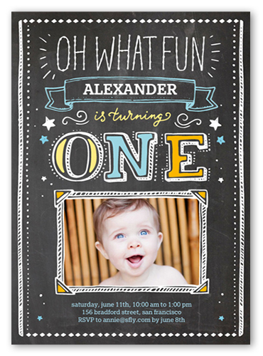 Oh What Fun Boy Birthday Invitation, Square