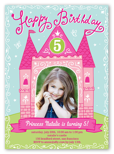 Princess Castle 5x7 Girls Birthday Invitations