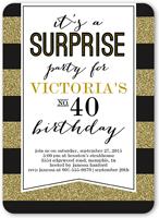 striped surprise birthday invitation 5x7 flat