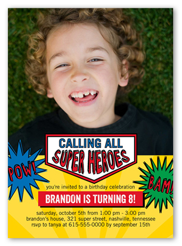 Calling all heroes 5x7 birthday invitation cards shutterfly filmwisefo