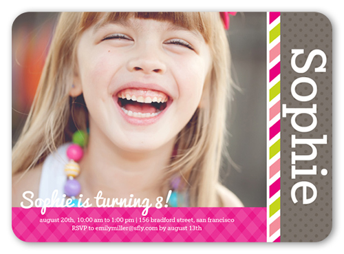 Officially Growing Girl Birthday Invitation, Rounded Corners