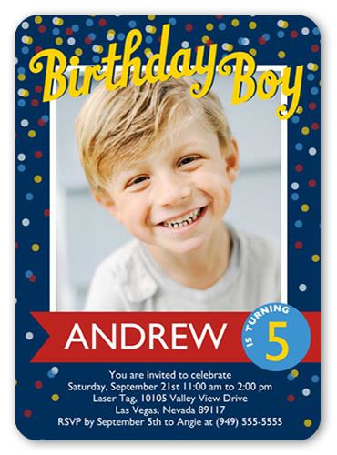 Confetti Boy Birthday Invitation 5x7 Flat