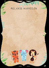 little animals thank you card 5x7 flat