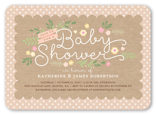 Lovely Scallop Girl Baby Shower Invitation, Rounded Corners