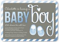 baby booties boy baby shower invitation 5x7 flat