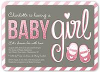 baby booties girl baby shower invitation 5x7 flat