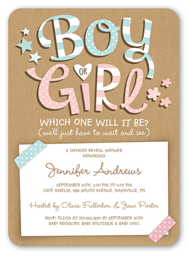 Which Will It Be Baby Shower Invitation, Rounded Corners