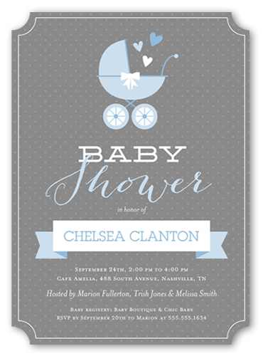 Buggy And Banner Boy Baby Shower Invitation, Ticket Corners