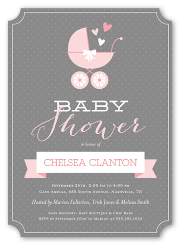 Buggy And Banner Girl Baby Shower Invitation, Ticket Corners
