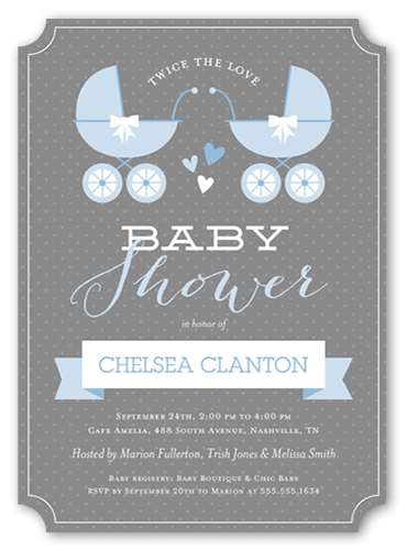 Buggy And Banner Boys Baby Shower Invitation