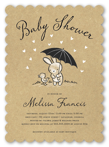 Bunny Shower Baby Shower Invitation, Scallop Corners
