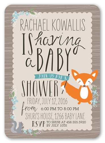 Woodsy Invite Boy 5x7 Invitation Baby Shower Invitations