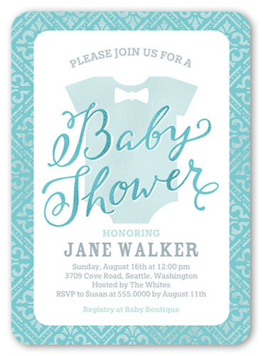 Fancy Onesie Boy Baby Shower Invitation, Rounded Corners