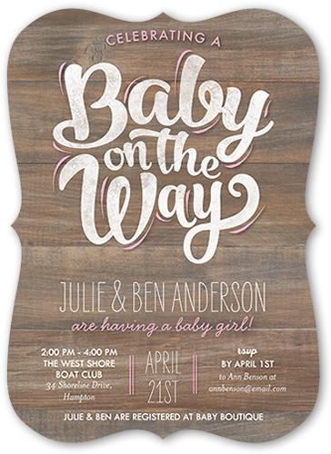 Baby Girl On The Way Baby Shower Invitation, Bracket Corners