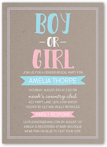 Gender Reveal Party Baby Shower Invitation By Petite