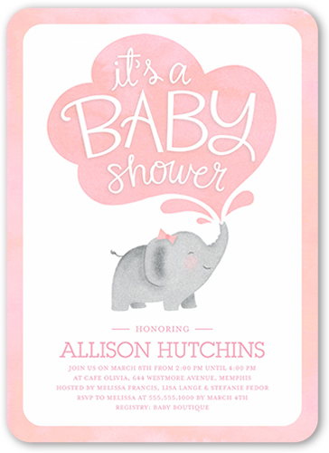 Little Elephant Girl Baby Shower Invitation, Rounded Corners