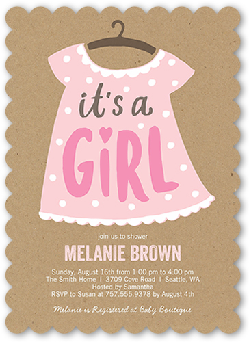 Stylish Girl Baby Shower Invitation, Scallop Corners