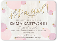 newborn confetti girl baby shower invitation 5x7 flat
