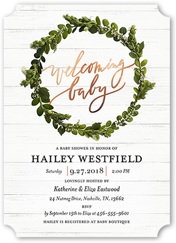 Welcoming Wreath Custom Baby Shower Invitations Shutterfly
