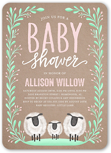 Laurel Arrival Girl Baby Shower Invitation, Rounded Corners