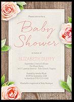 floral woodgrain baby shower invitation 5x7 flat