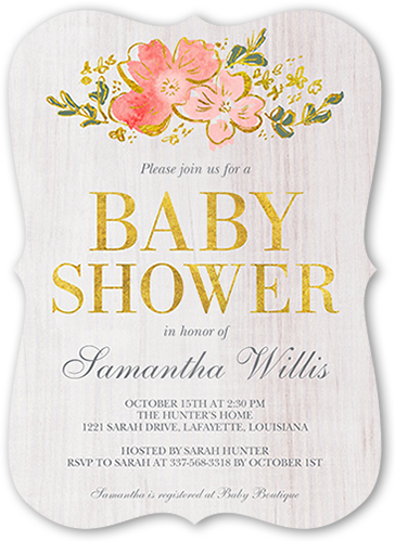 Decorative Woodgrain Baby Shower Invitation