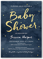 starry watercolor baby shower invitation 5x7 flat
